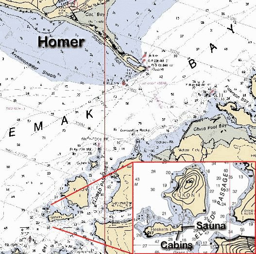 Map of Hesketh Island in Kachemak Bay.
